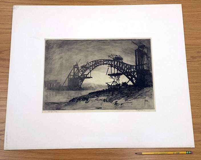 Hell Gate Bridge. Etching by Ralph M. Pearson, 1916. //www.loc.gov/pictures/item/2003672647/