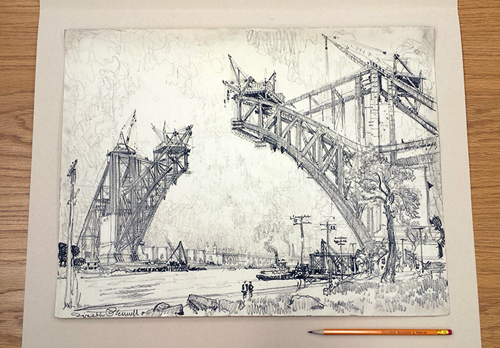 Building new bridge over the Sound. Drawing by Joseph Pennell, ca. 1915. //www.loc.gov/pictures/item/2007666497/