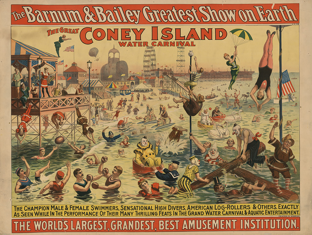 The Barnum & Bailey Greatest Show on Earth The Great Coney Island Water Carnival. Poster copyrighted by The Strobridge Litho. Co., 1898. //hdl.loc.gov/loc.pnp/03793