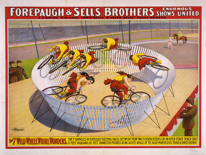 Forepaugh & Sells Brothers enormous shows united. The 7 wild wheel whirl wonders. The 7 Gaynells ... Poster copyrighted by The Strobridge Litho Co., 1902. //hdl.loc.gov/loc.pnp/cph.3g02625