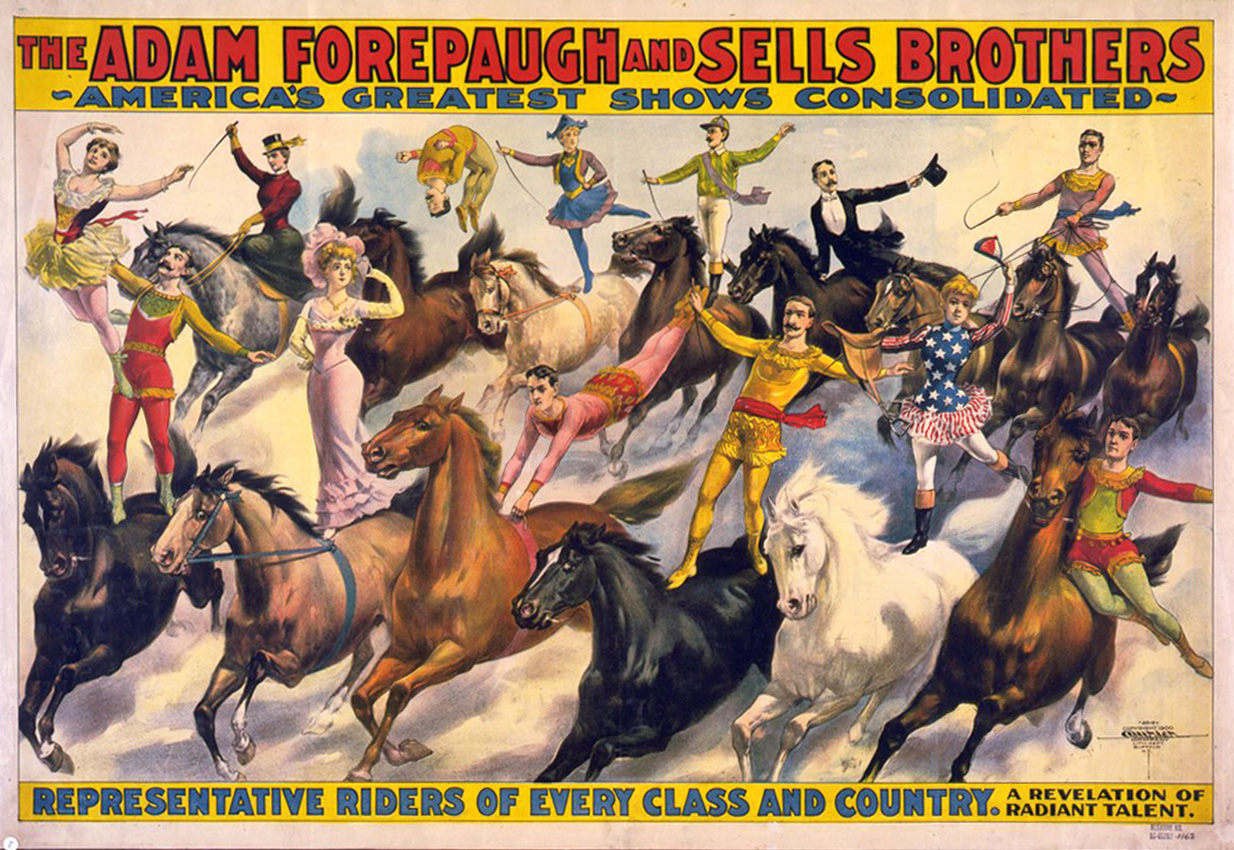 The Adam Forepaugh & Sells Brothers. America's shows consolidated. Representative riders of every class and country ... Poster copyrighted by Courier Litho Co., 1900. //hdl.loc.gov/loc.pnp/cph.3g02988