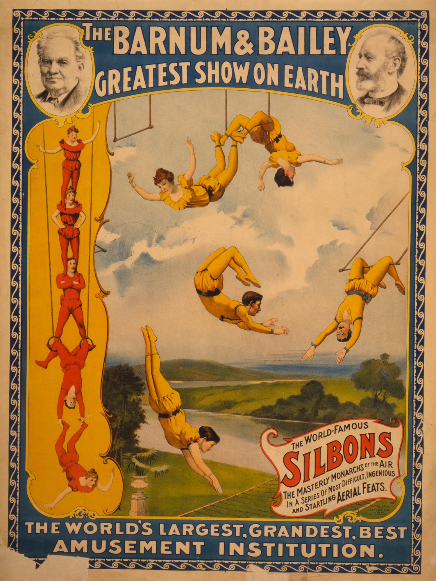 The Barnum & Bailey greatest show on earth The world's largest, grandest, best amusement institution. Poster (chromolithograph) copyrighted by The Strobridge Litho. Co., 1896. //hdl.loc.gov/loc.pnp/cph.3g09668