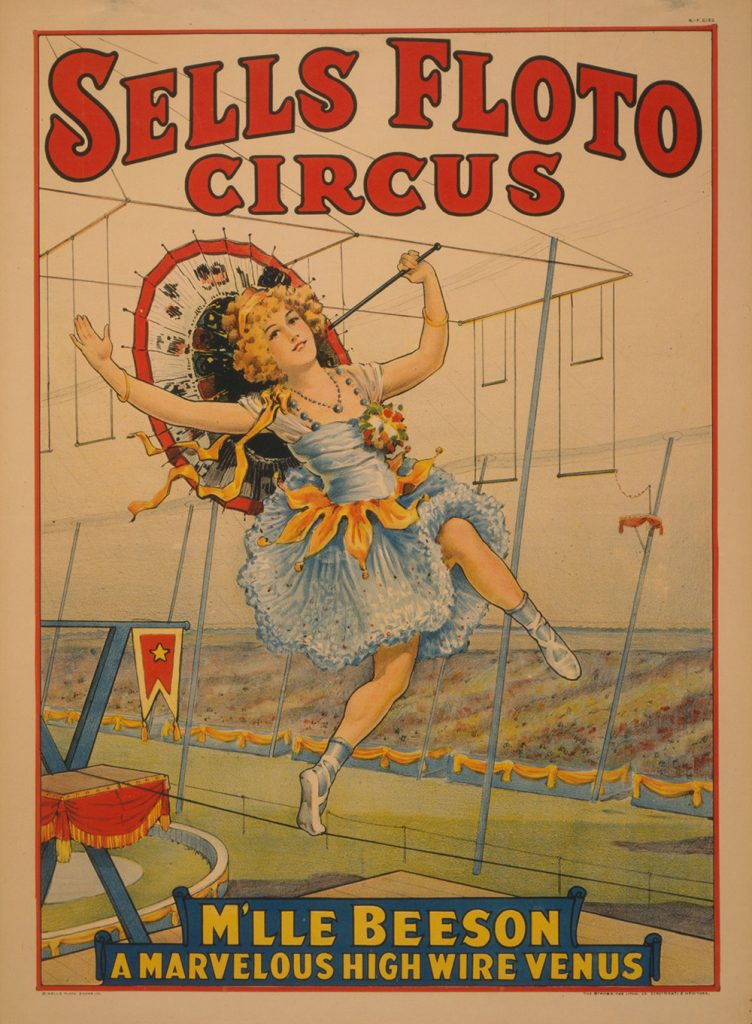 Sells Floto Circus. M'lle Beeson, a marvelous high wire Venus. Poster copyrighted by Sells Floto Show Co., 1921. //hdl.loc.gov/loc.pnp/cph.3g09672
