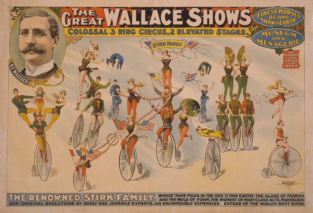 The Great Wallace shows : colossal 3 ring circus, 2 elevated stages. Poster copyrighted by Courier Litho. Co., 1898. //hdl.loc.gov/loc.pnp/cph.3g13545