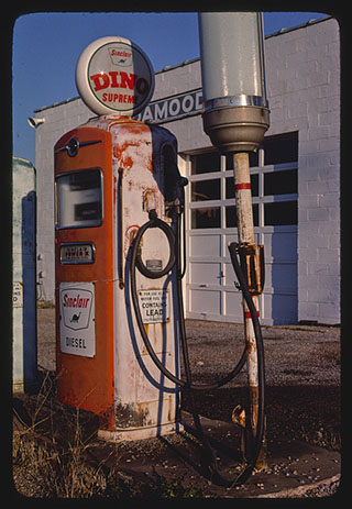 Sinclair diesel gas pump, Route 37. New Lexington, Ohio. Photograph by John Margolies. 1977. //hdl.loc.gov/loc.pnp/mrg.01695