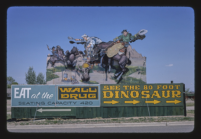 Wall Drug billboard, I-90. South Dakota. Photograph by John Margolies. 1980. //hdl.loc.gov/loc.pnp/mrg.01970