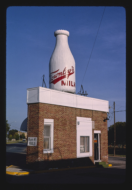 Townley milk bottle, 24th and Classen Streets. Oklahoma City, Oklahoma. Photograph by John Margolies. 1993. //hdl.loc.gov/loc.pnp/mrg.04175