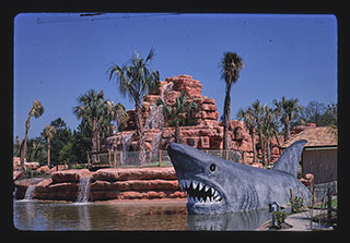 Rainbow Falls mini golf, shark. Myrtle Beach, South Carolina. Photograph by John Margolies. 1988. //hdl.loc.gov/loc.pnp/mrg.06179