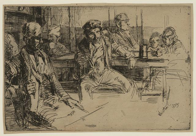 Longshoremen. Etching by James McNeill Whistler, 1859. //hdl.loc.gov/loc.pnp/ppmsca.25251