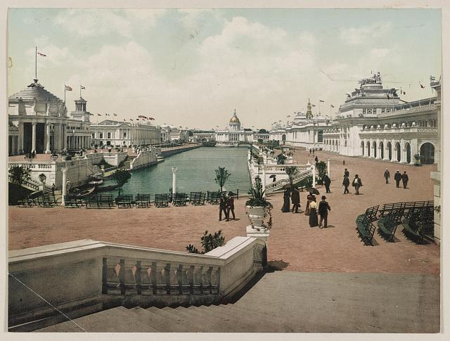 Grand Court, Looking West. Trans-Mississippi Exposition. Photochrom by Detroit Photographic Co., between 1890 and 1906. //hdl.loc.gov/loc.pnp/ppmsca.52914