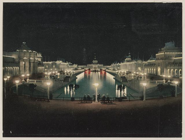 Grand Court, Night Illumination. Trans-Mississippi Exposition. Photo by Detroit Photographic Co., between 1890 and 1906. //hdl.loc.gov/loc.pnp/ppmsca.52916