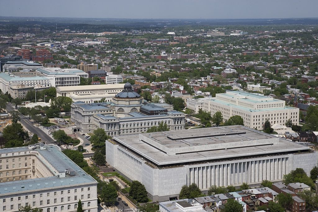 [Aerial view of Capitol Hill featuring the Madison, Jefferson and Adams Buildings of the Library of Congress, Washington, D.C.]. Photo by Carol M. Highsmith, 2007. //hdl.loc.gov/loc.pnp/highsm.01903