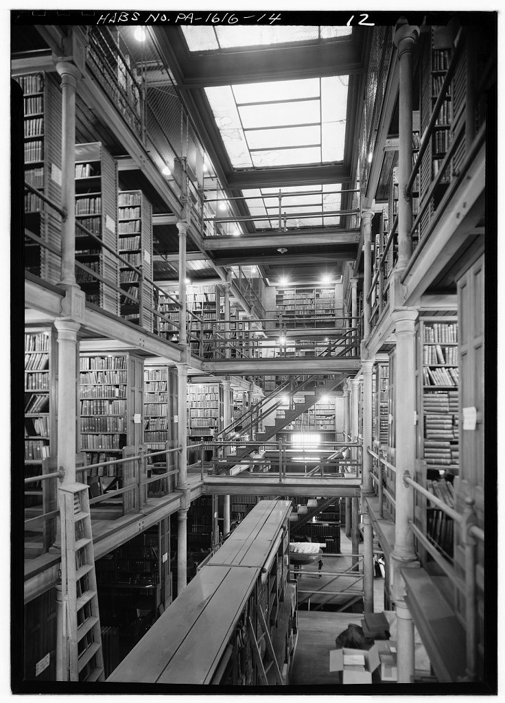 General View of book room, looking east. Library Company of Philadelphia, Ridgway Branch, 900 South Broad Street, Philadelphia, Philadelphia County, PA. Photograph by Jack Boucher, 1962. //hdl.loc.gov/loc.pnp/hhh.pa0969/photos.138347p