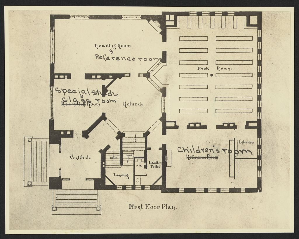 First floor plan [for the Scoville Institute, Oak Park, Illinois]. Photo of an architectural drawing by Patton & Fisher, ca. 1886. //hdl.loc.gov/loc.pnp/ppmsca.15370
