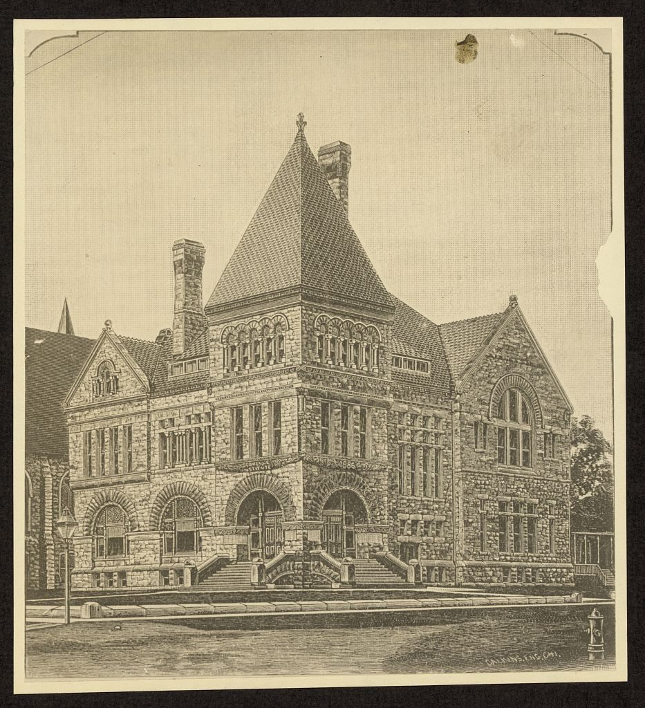[Scoville Institute, now Oak Park Public Library, Oak Park, Illinois]. Photo of an engraving by Calkins, ca. 1890. //hdl.loc.gov/loc.pnp/ppmsca.15389