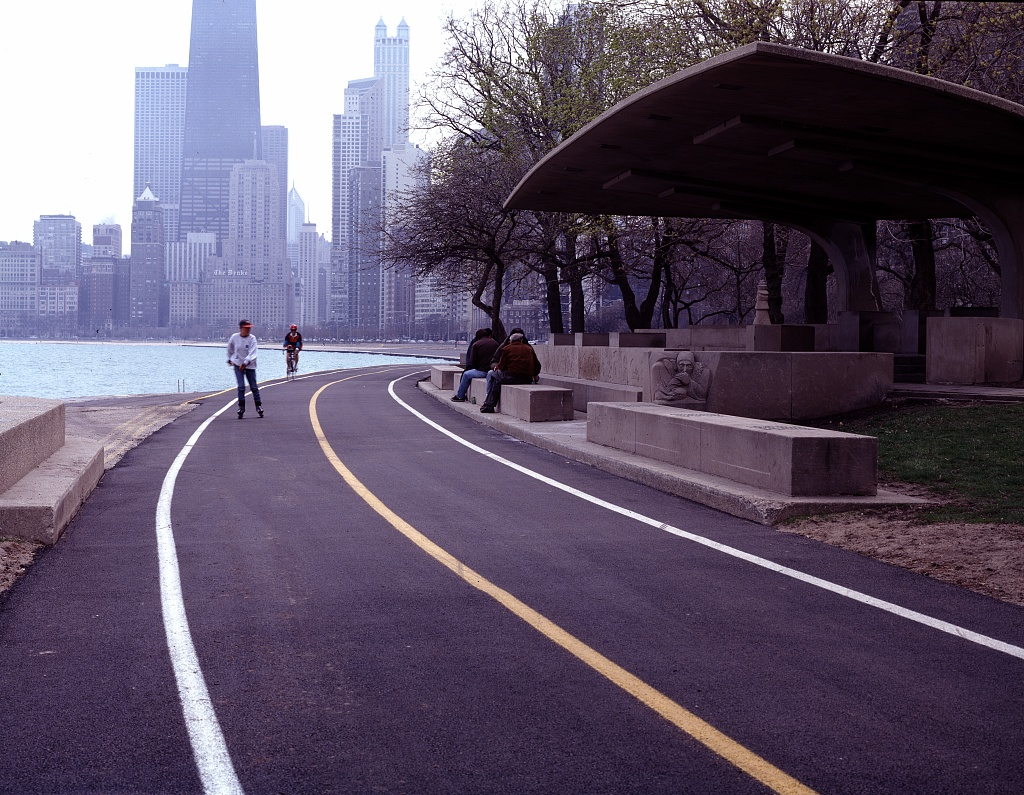 Roller skater passes the Chess Pavilion in Lincoln Park along Lake Michigan, Chicago, Illinois. Photo by Carol Highsmith, between 1980 and 2006. //hdl.loc.gov/loc.pnp/highsm.18149
