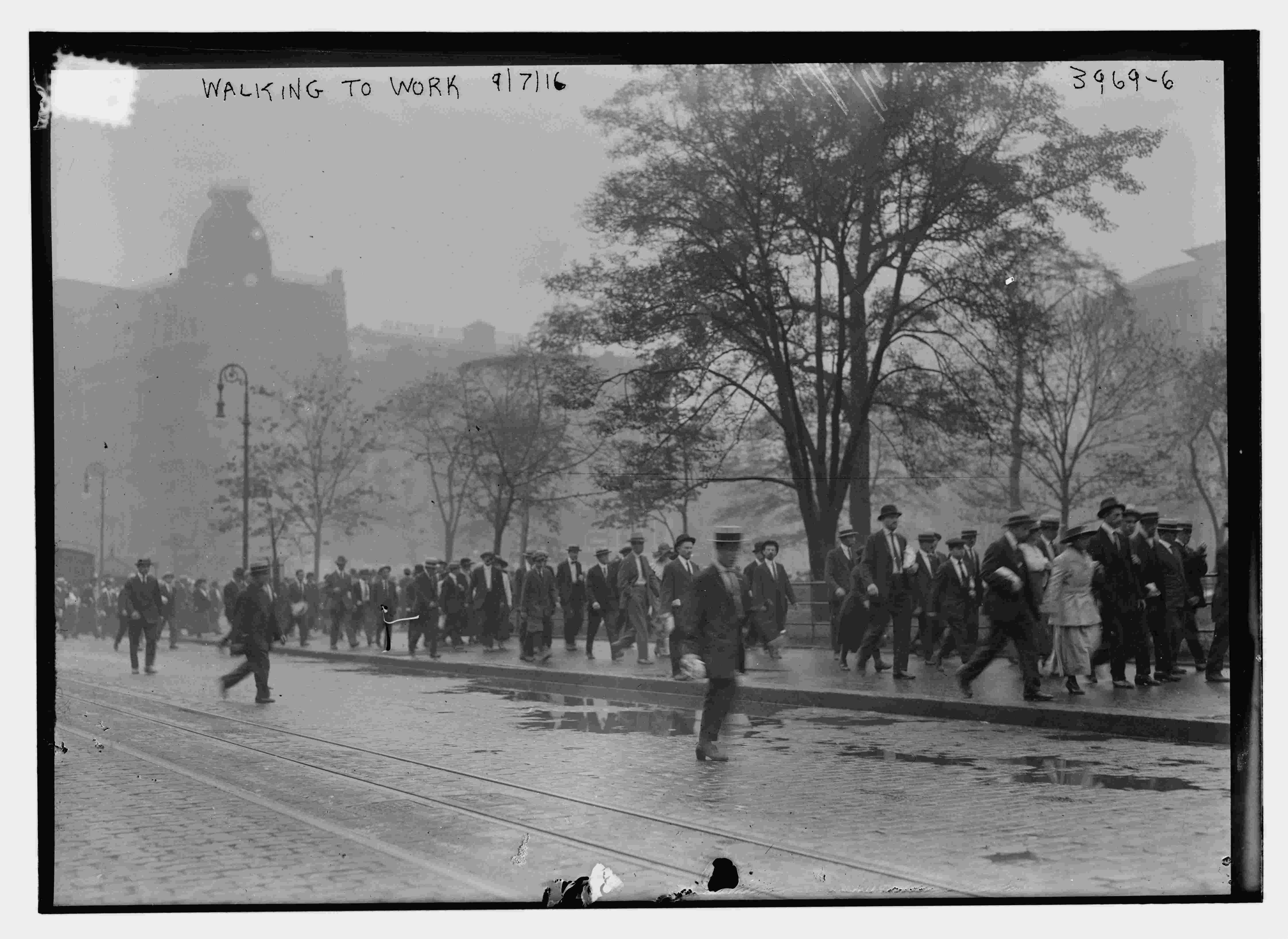 Walking to Work, 1916. Photography by Bain News Service, 1916. //hdl.loc.gov/loc.pnp/ggbain.22722