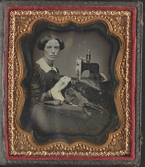 [Occupational portrait of a woman working at a sewing machine] Other title: Seamstress. Daguerreotype, circa 1853. //hdl.loc.gov/loc.pnp/ds.04496