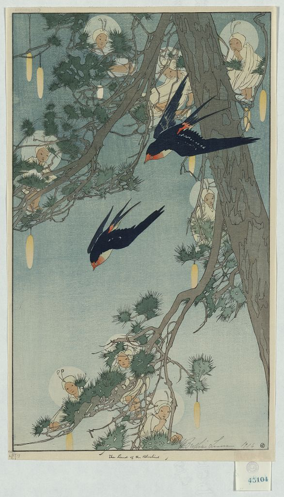The Land of the Bluebird. Woodcut by Bertha Lum, copyrighted 1916. //hdl.loc.gov/loc.pnp/ppmsca.09572