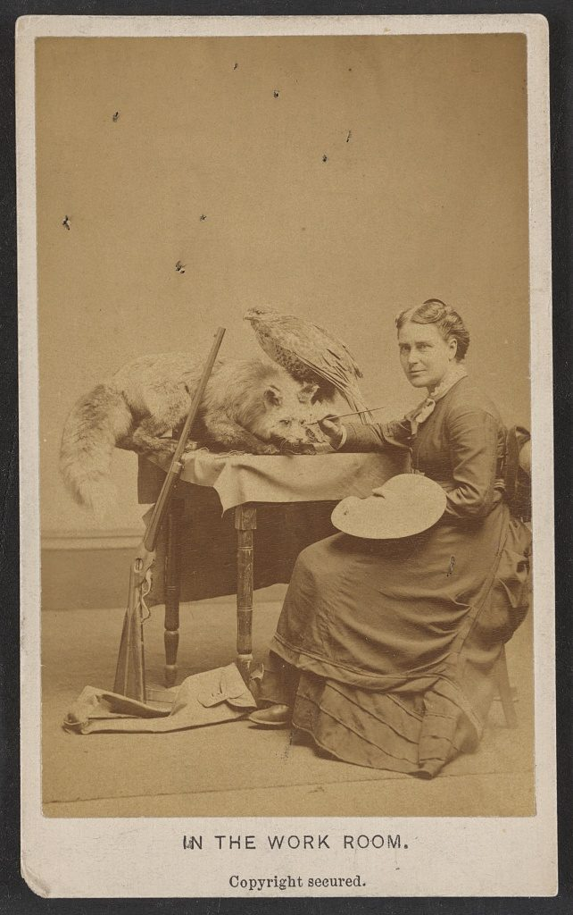 In the work room. Photo copyrighted 1876 October 27. {Photograph shows occupational portrait of taxidemist Martha A. Maxwell with animal specimens, palette, and rifle.] //hdl.loc.gov/loc.pnp/ppmsca.35605