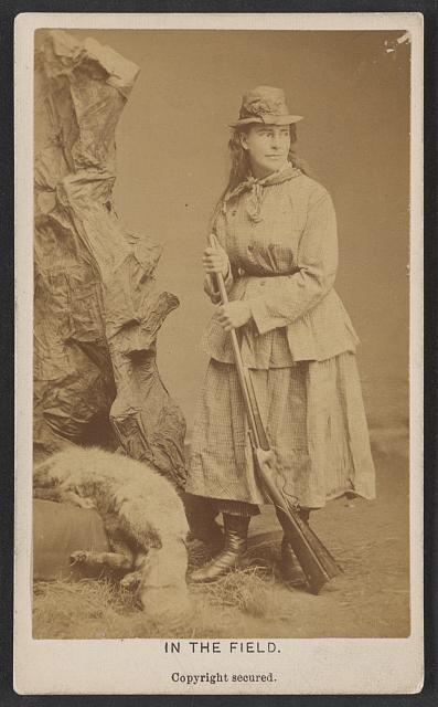 In the field. Photo copyrighted 1876 October 27. [Photograph shows occupational portrait of taxidermist Martha A. Maxwell with dead animal and rifle.] //hdl.loc.gov/loc.pnp/ppmsca.35607