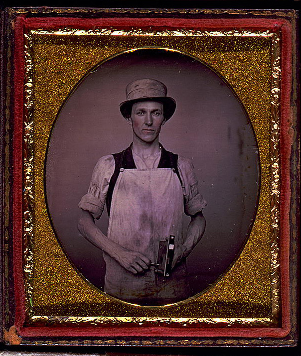 [Occupational portrait of a latch maker] Daguerreotype, between 1850 and 1860. //hdl.loc.gov/loc.pnp/cph.3g03597