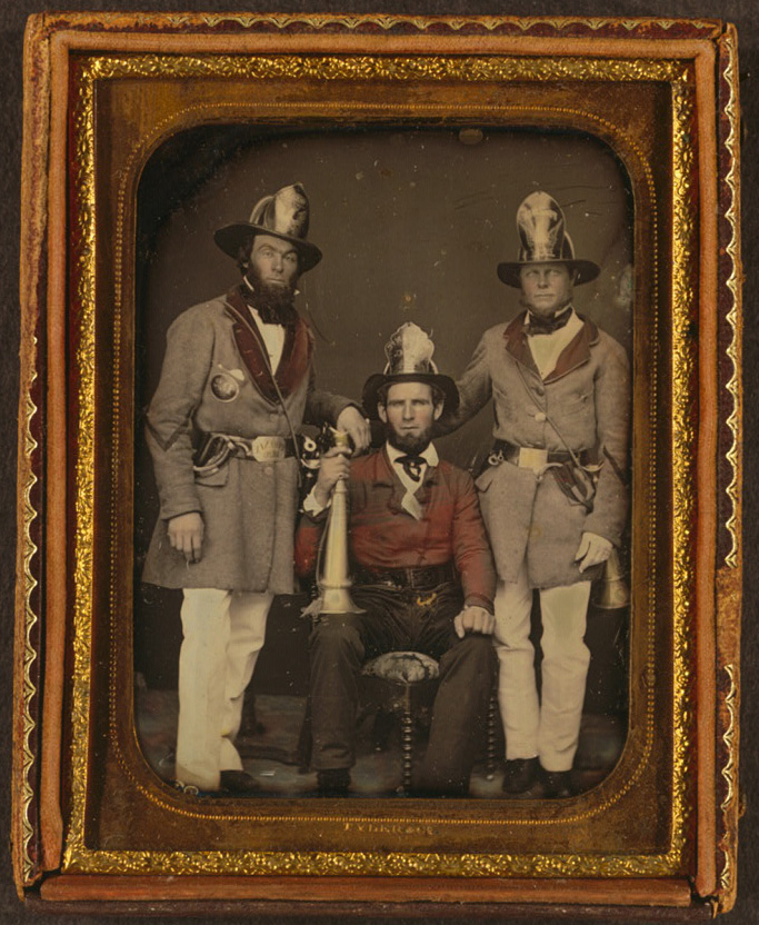 [Foremen, Phoenix Fire Company and Mechanic Fire Company, Charleston, South Carolina] Daguerreotype by Tyler & Co., circa 1855. //hdl.loc.gov/loc.pnp/cph.3g06607