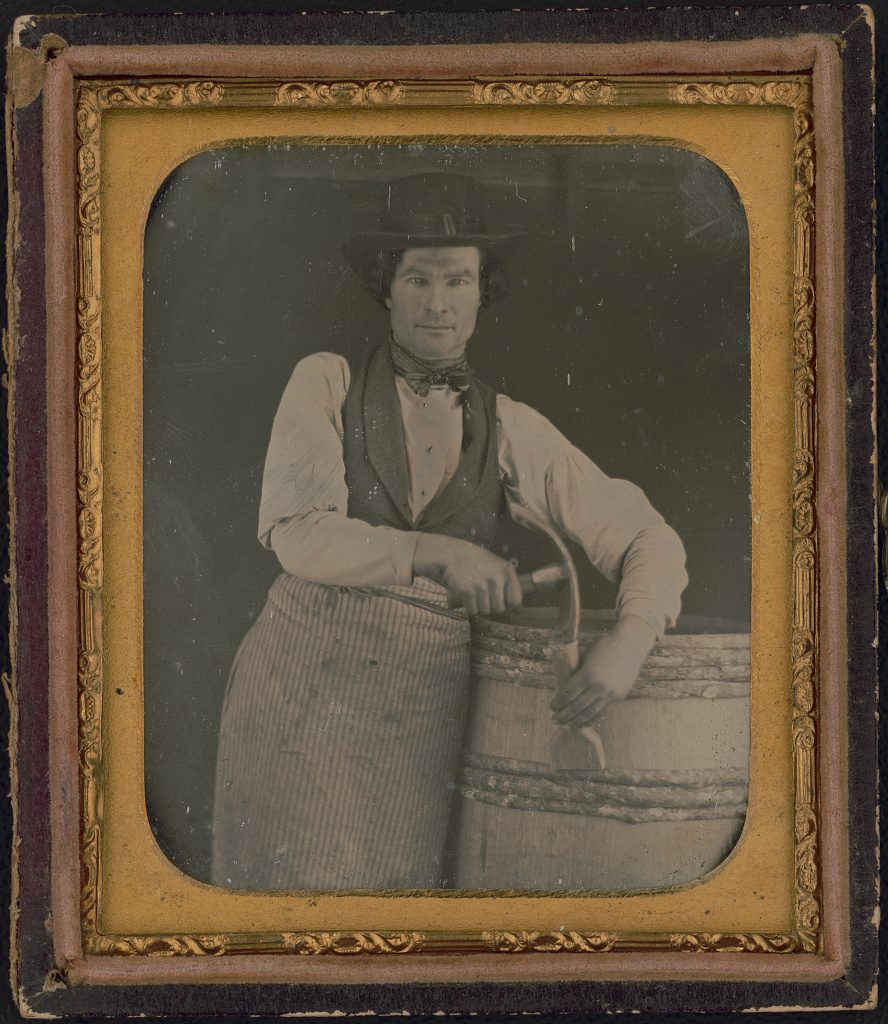 [Occupational portrait of a cooper, three-quarter length, with barrel and tools] Daguerreotype, between 1840 and 1860. //hdl.loc.gov/loc.pnp/ppmsca.50239