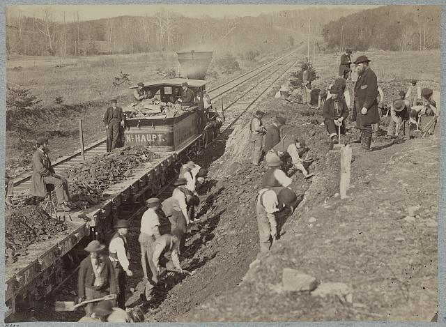 U.S. Military Railroad Construction Corps repairing Orange and Alexandria R.R. at Devereux Station. Photo by Andrew J. Russell, photographed between 1861 and 1865, printed between 1880 and 1889. //hdl.loc.gov/loc.pnp/ppmsca.33475