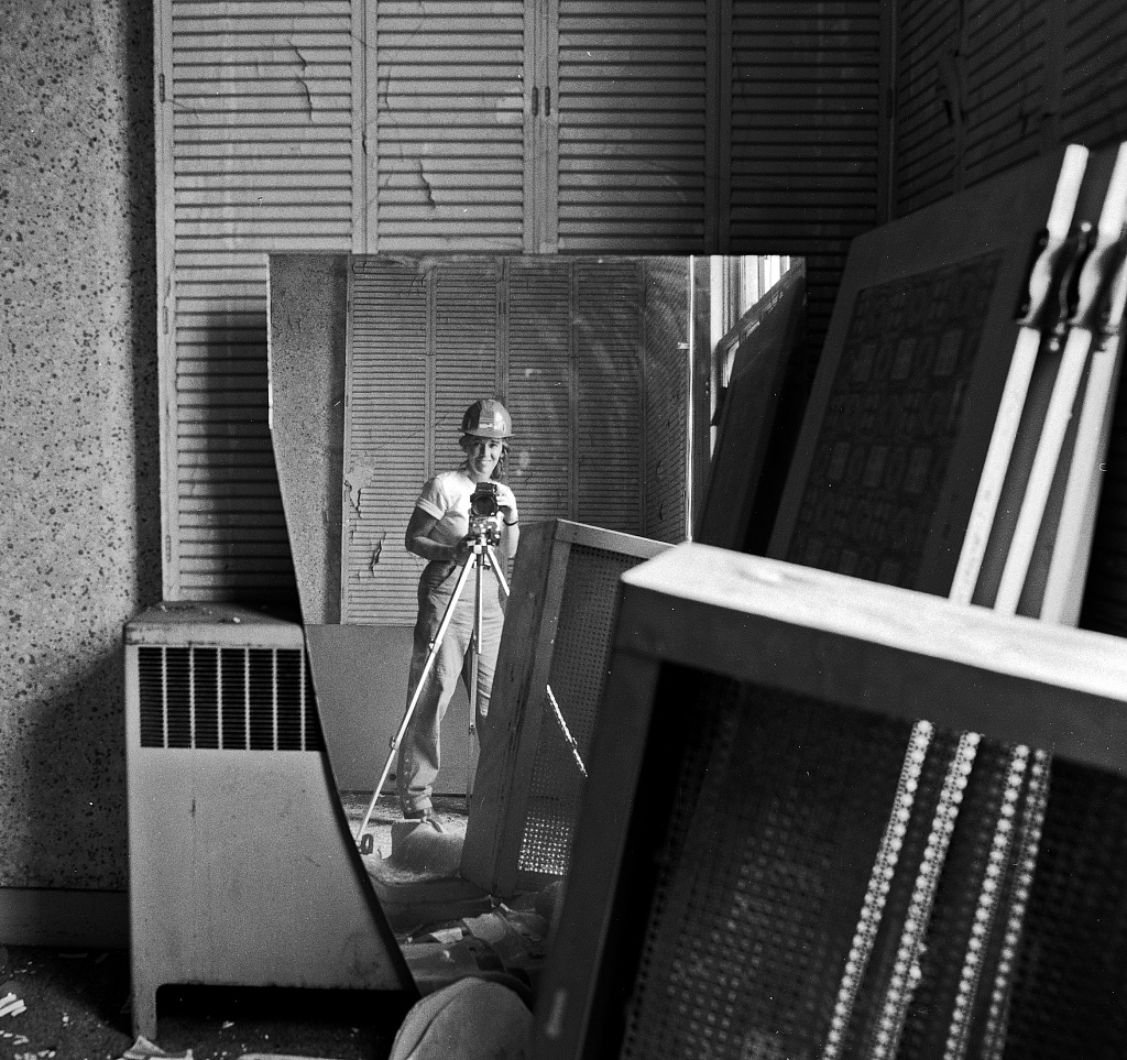 Self portrait of photographer Carol M. Highsmith, via a broken mirror that she photographed during the Willard Hotel restoration. Washington, D.C. Photo by Carol M. Highsmith, between 1980 and 1990. //hdl.loc.gov/loc.pnp/highsm.16608