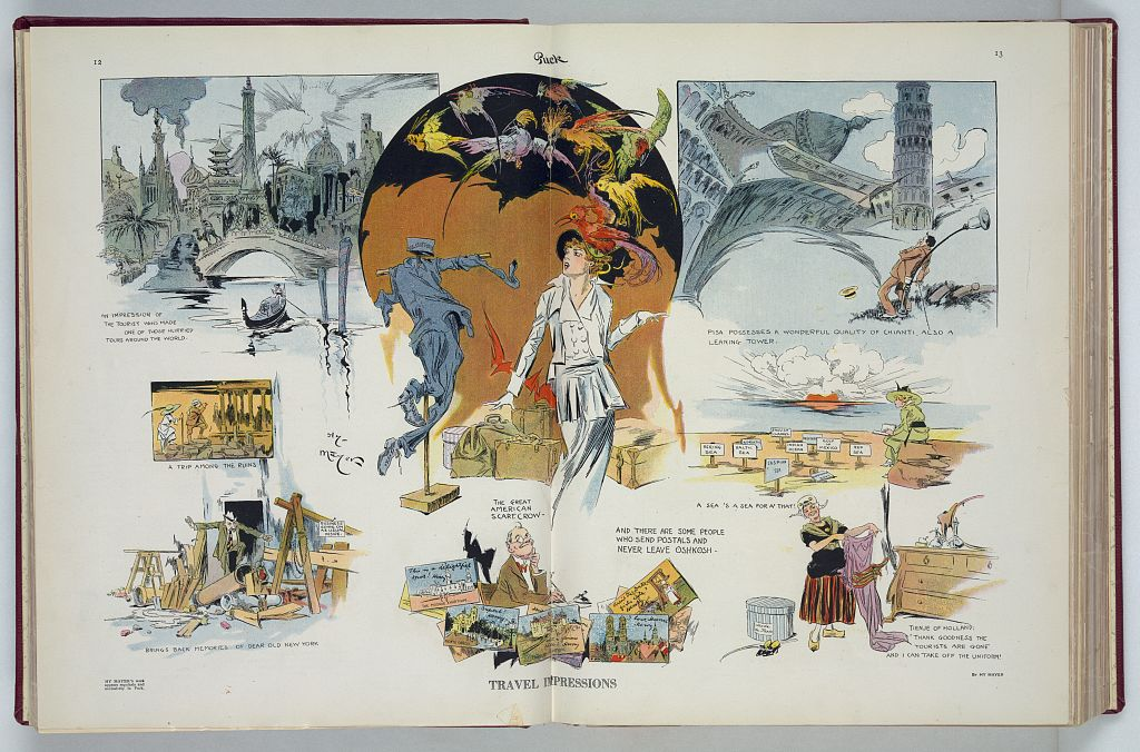 Travel impressions. Color offset print by Henry (Hy) Mayer. Published in Puck, v. 76, no. 1956 (1914 August 29). //hdl.loc.gov/loc.pnp/ppmsca.28081