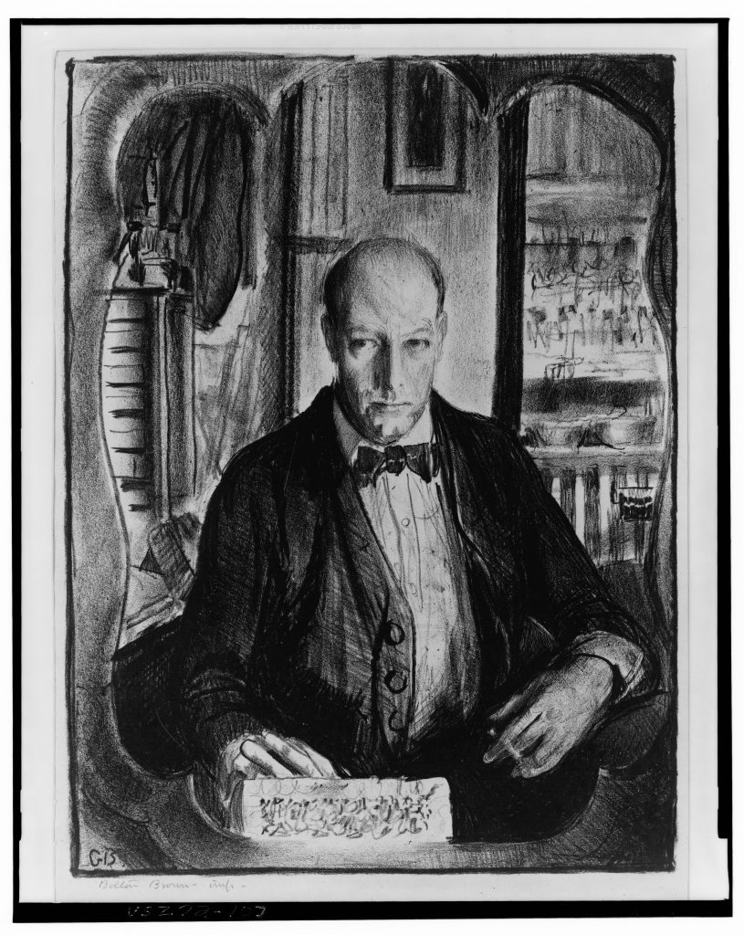 Self-portrait. Lithograph by George Bellows, 1921. //hdl.loc.gov/loc.pnp/cph.3m00107