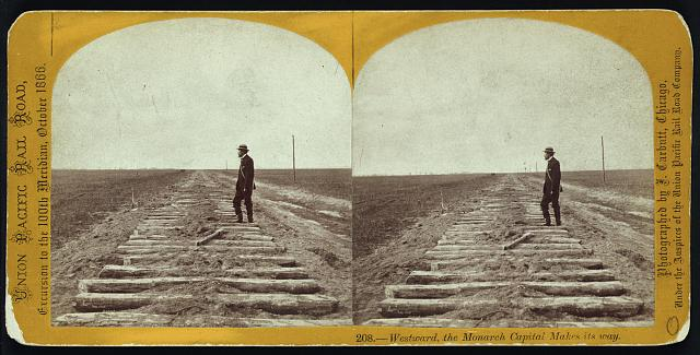 Westward, the monarch capital makes its way. Photo by John Carbutt, 1866 Oct. //hdl.loc.gov/loc.pnp/stereo.1s00077