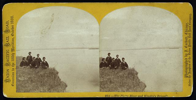 The Platte River and Kinsley's Brigade. Photo by John Carbutt, 1866. //hdl.loc.gov/loc.pnp/stereo.1s00079