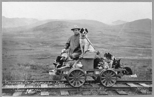 Man and dogs on rail cart trip from Shelton to Nome. Photo by Wheeler, 1912 July 28. //hdl.loc.gov/loc.pnp/ppmsc.02480