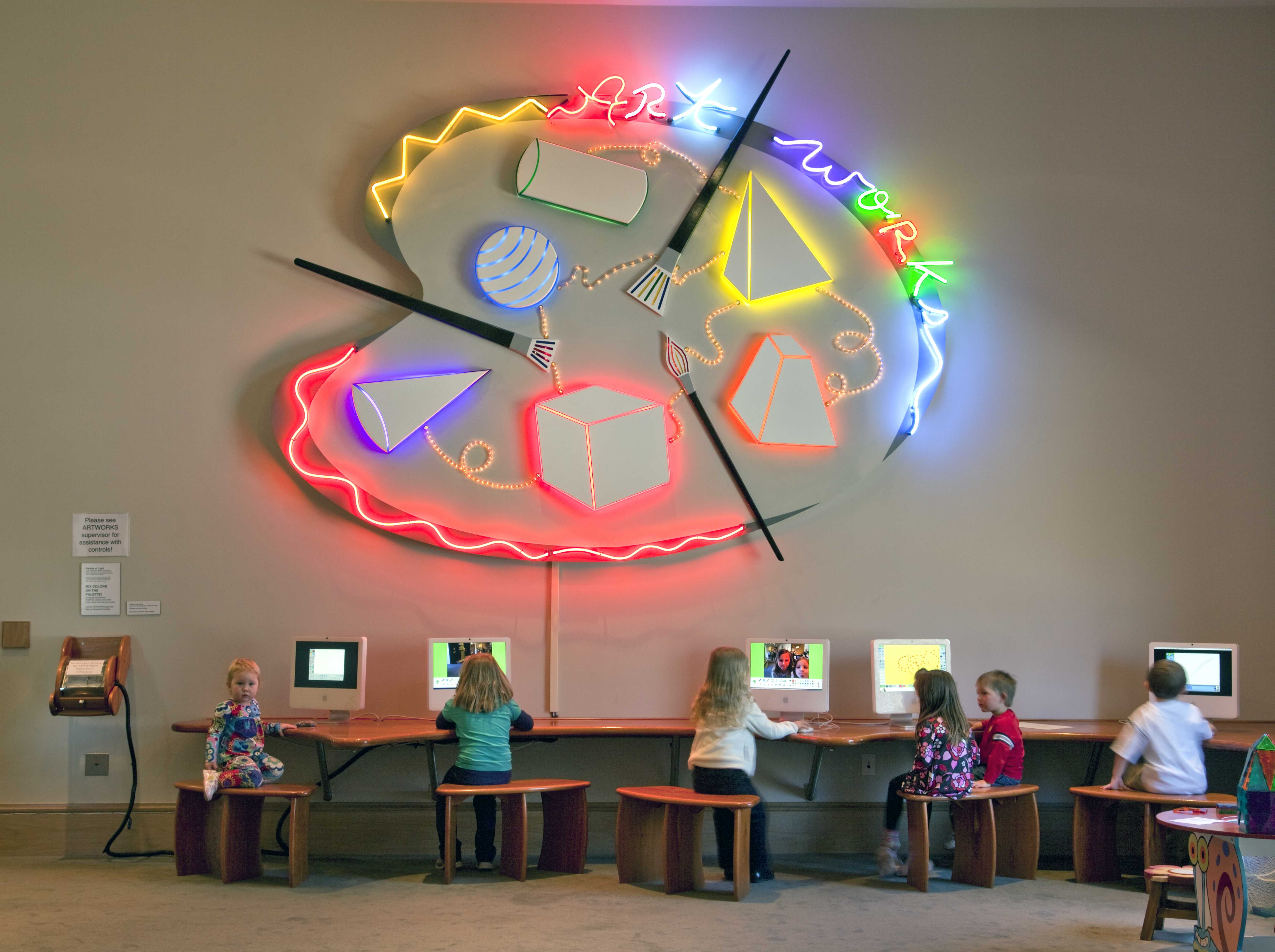 Children learn art from computers at the ArtWorks center in the Montgomery Museum of Fine Arts, Montgomery, Alabama. Photograph by Carol Highsmith, 2010 February 20. //hdl.loc.gov/loc.pnp/highsm.05607
