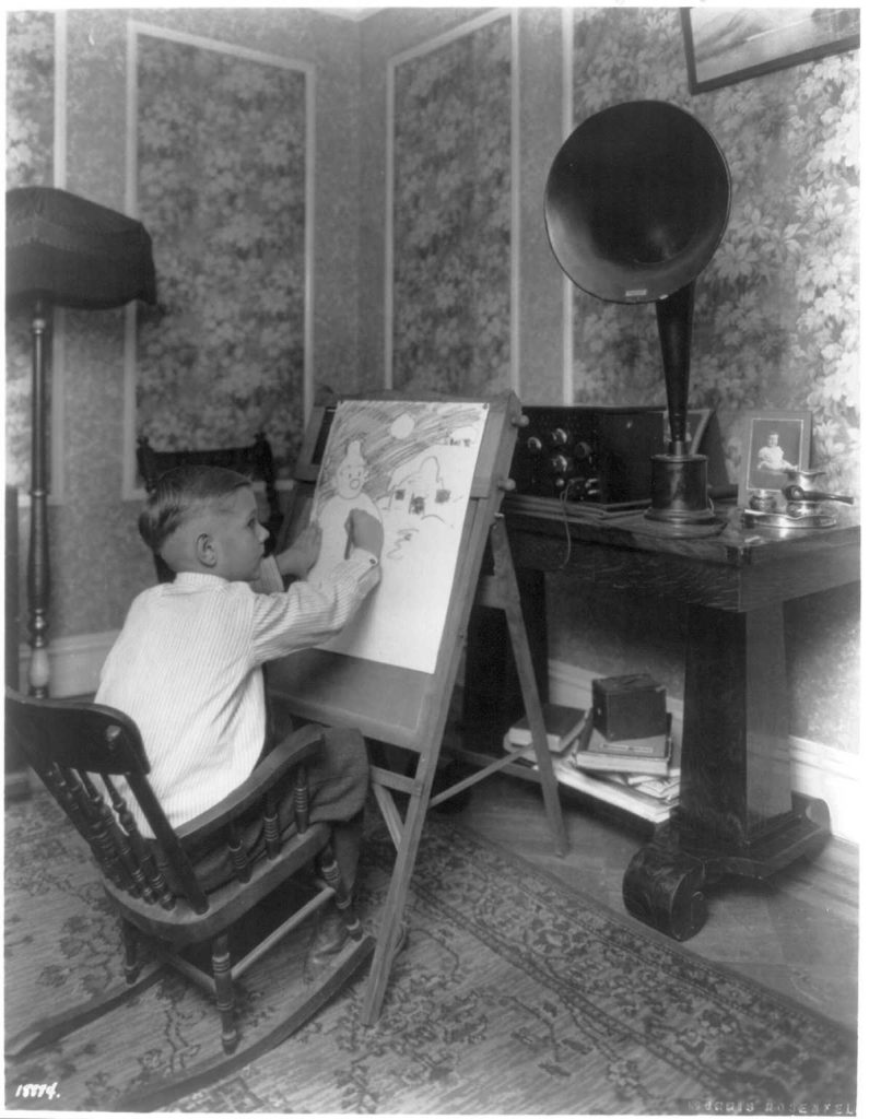 Master Harold Shaver of Jersey City learns to draw by listening in to lessons broadcast by WOR. Photograph by Morris Rosenfeld, 1924. //hdl.loc.gov/loc.pnp/cph.3a38916