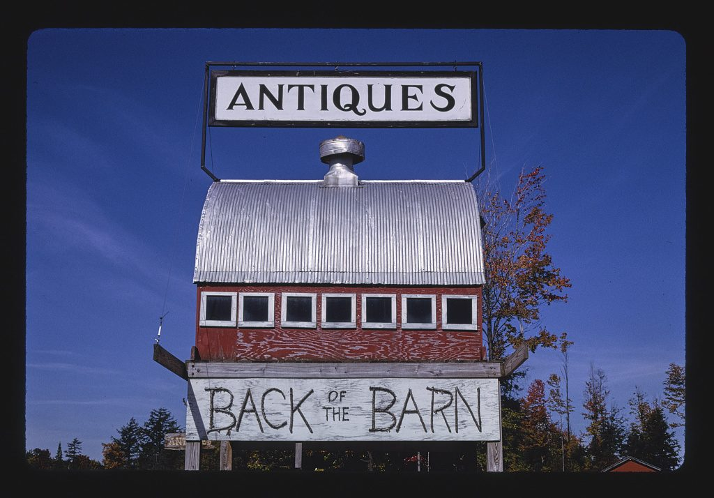 Back of the Barn Antiques sign, Routes 12 & 28, Steuben, New York. Photograph by John Margolies, 1995. //hdl.loc.gov/loc.pnp/mrg.01774