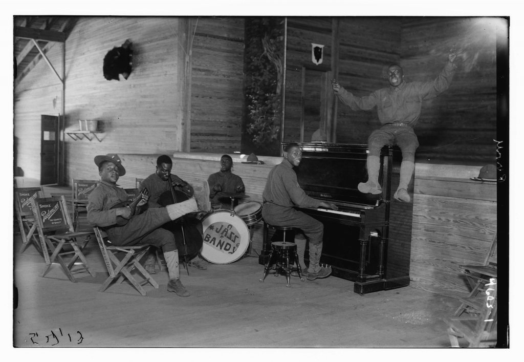 US Army Jazz Band, Camp Upton. Photograph by Bain News Service, 1918 May 27. //hdl.loc.gov/loc.pnp/ggbain.26880