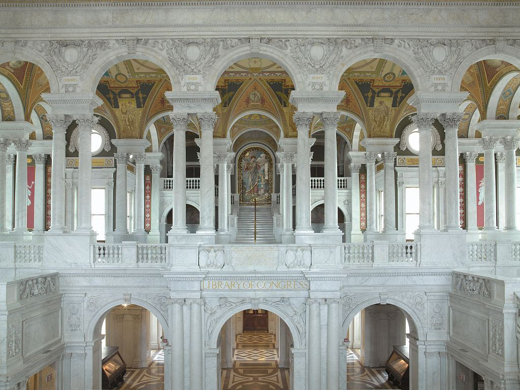 [Great Hall, view of second floor with Minerva in distance. Library of Congress Thomas Jefferson Building, Washington, D.C.] Photo by Carol M. Highsmith, 2007. //hdl.loc.gov/loc.pnp/highsm.03181