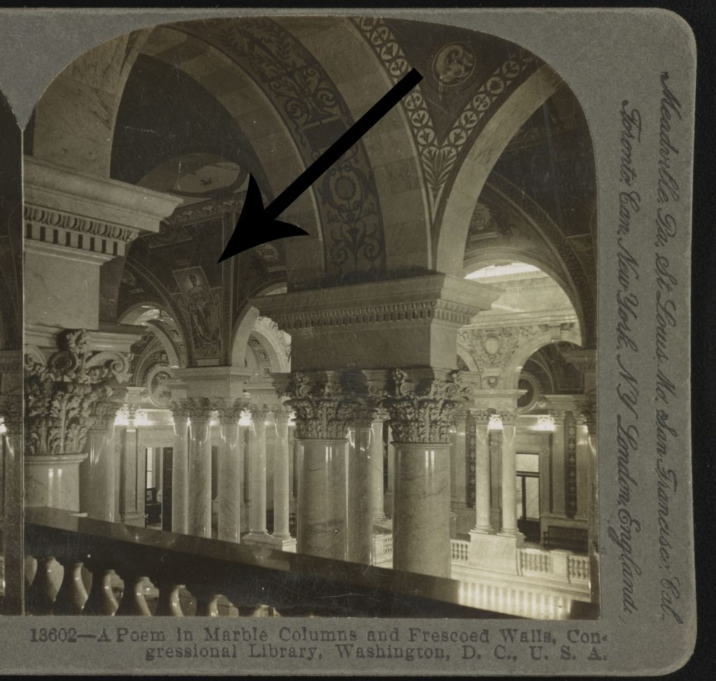 Detail of A poem in marble columns and frescoed walls, Congressional Library, Washington, D. C., with arrow pointing to Romance painting. Stereograph copyrighted by B. L. Singley, 1903. //hdl.loc.gov/loc.pnp/stereo.1s05927.