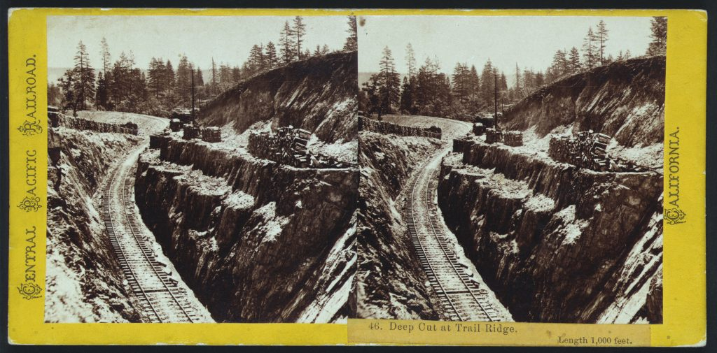 Deep cut at Trail Ridge. Length 1,000 feet. Stererograph by Alfred Hart, between 1865 and 1869. //hdl.loc.gov/loc.pnp/stereo.1s00466