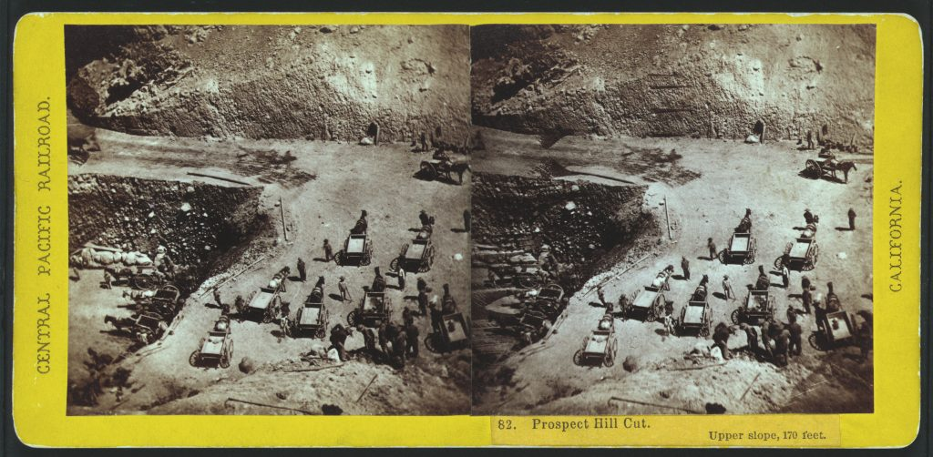 Prospect Hill Cut. Upper slope, 170 feet. Stereograph by Alfred Hart, between 1865 and 1869. //hdl.loc.gov/loc.pnp/stereo.1s00486