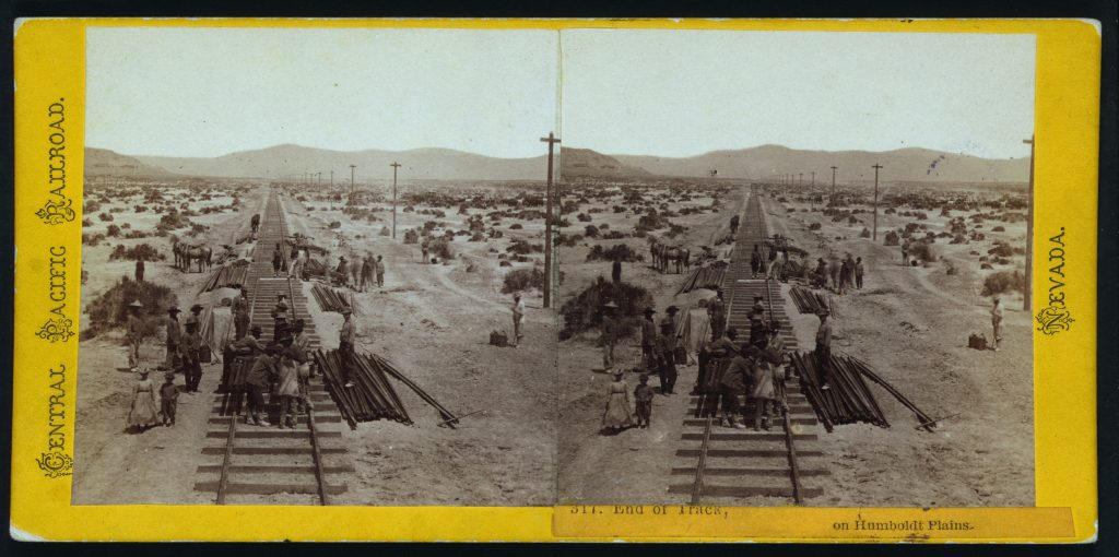 End of track, on Humboldt Plains. Stereograph by Alfred Hart, between 1865 and 1869. //hdl.loc.gov/loc.pnp/stereo.1s00618