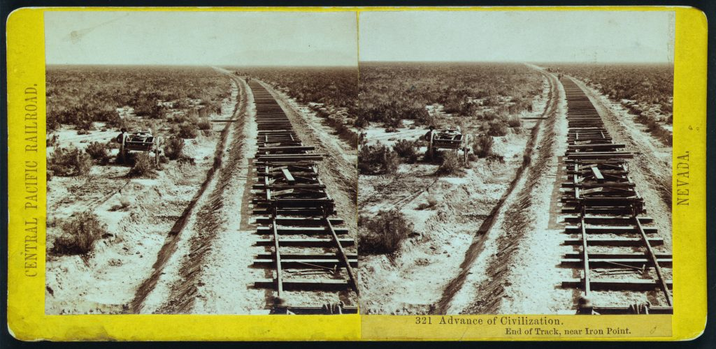 Advance of civilization. End of track, near Iron Point. Stereograph by Alfred Hart, between 1865 and 1869. //hdl.loc.gov/loc.pnp/stereo.1s00621