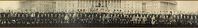 Group portrait of the Sixty-fifth U.S. Congress in front of the U.S. Capitol, Washington, D.C. [detail of center section]. Photo, 1918 March 20. //hdl.loc.gov/loc.pnp/ppmsca.13272