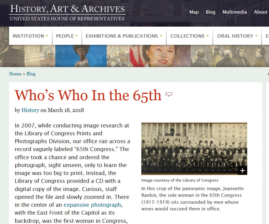 Who's Who in the 65th. Blog post, United States House of Representatives, History, Art & Archives Blog, 2018 March 18. http://history.house.gov/Blog/Detail/15032450770
