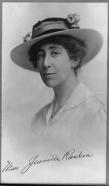 Jeannette Rankin. Photo, copyrighted 1916 Aug. 1. //hdl.loc.gov/loc.pnp/cph.3a11030