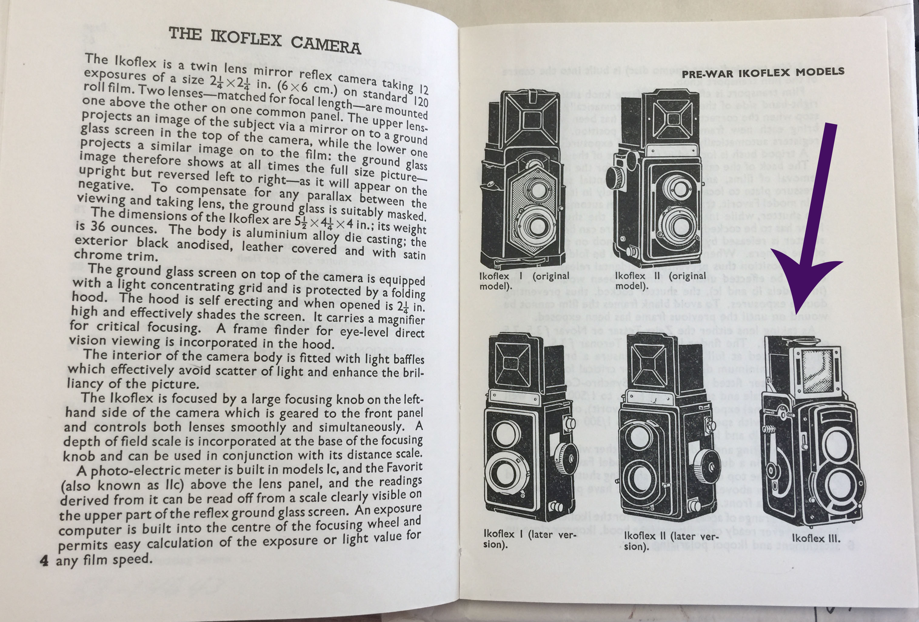 Pre-War Ikoflex Models from Emanuel, Walter Daniel. Ikoflex Guide: How to Make Full Use of your Ikoflex (New York: Focal Press, 1957). Catalog record: //lccn.loc.gov/58014643