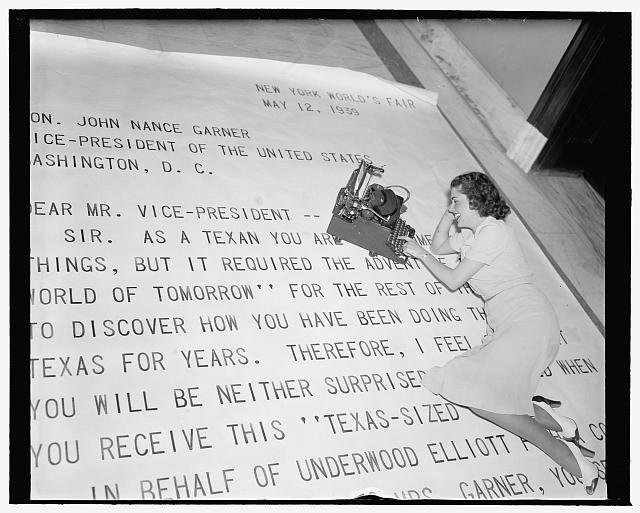 Texas sized letter to Vice President Garner. Photo by Harris & Ewing, 1939. //hdl.loc.gov/loc.pnp/hec.26686